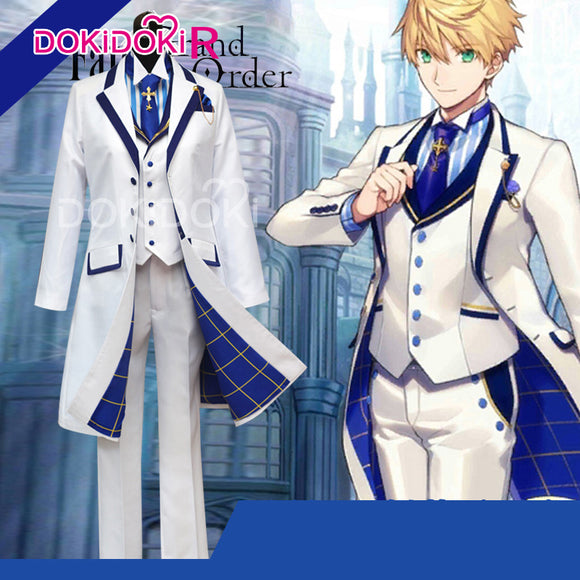 DokiDoki-R Fate/Grand Order  Arthur Cosplay Costume Game Fate Cosplay Merlin Men Suits FGO