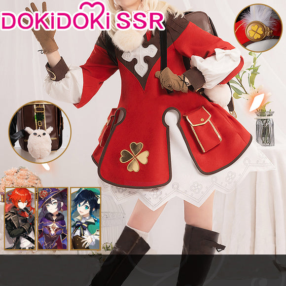 DokiDoki-SSR Game Genshin Impact Cosplay Klee  Costume /Backpack