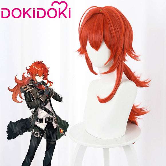 DokiDoki Game Genshin Impact Cosplay Long Red Sraight Diluc Wig Men