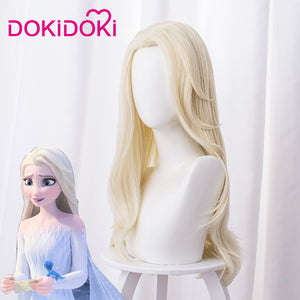 【Ready For Ship】DokiDoki Movie Frozen 2 Elsa Wig New Design Women Stright Long Blonde Cosplay Hair Heat Resistant