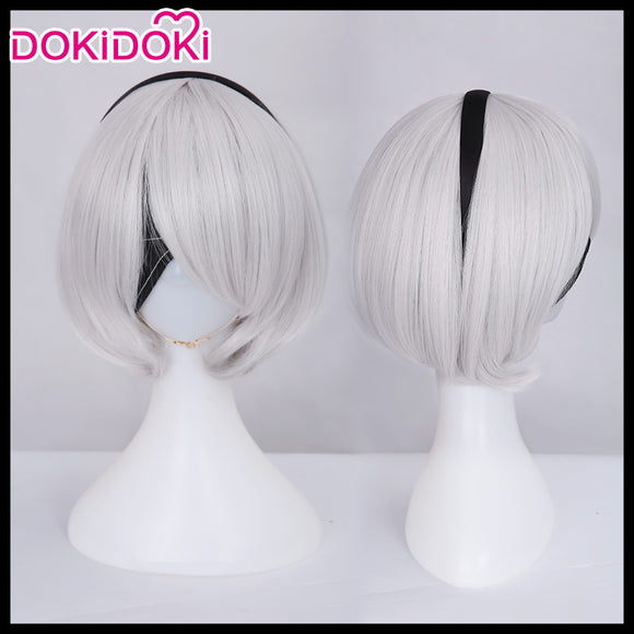 DokiDoki Cosplay Game NieR:Automata 2B Cosplay Wig YoRHa No. 2 Type B Women Short White Heat Resistant Hair