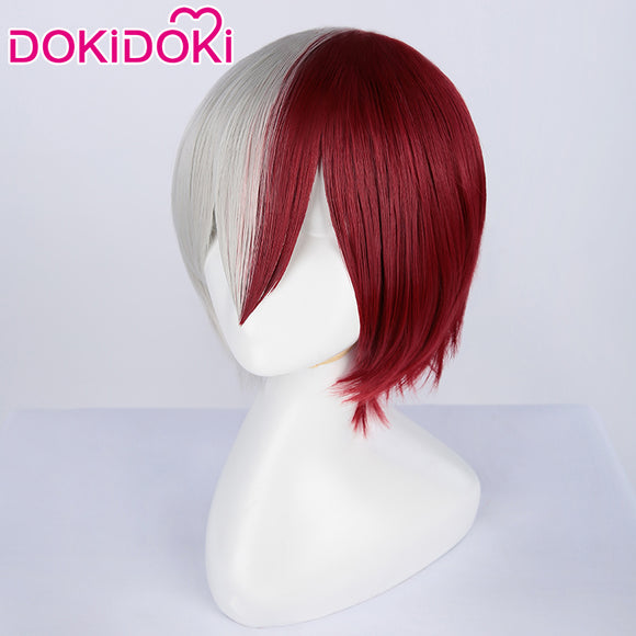 DokiDoki Cosplay Anime My Hero Academia /Boku No Hero Academia Cosplay Wig Todoroki Shoto Wigs Red White Hair Heat Resistant