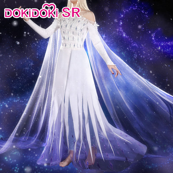 DokiDoki-SR Movie Frozen 2 Elsa Dress White Sprit Princess Dress Women