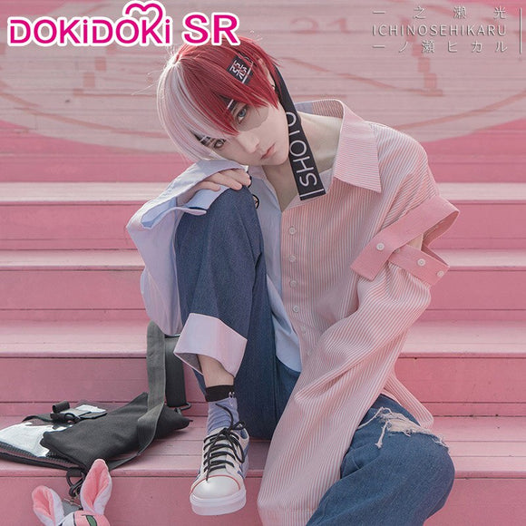 DokiDoki-SR  Anime Boku No Hero Academia Cosplay My Hero Academia Shoto Todoroki Costume Doujin Casual Wear