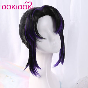 [ Ready For Ship ]DokiDoki Anime Demon Slayer: Kimetsu no Yaiba Kochou Shinobu Cosplay Wig Women Black Purple synthetic Hair