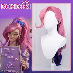 DokiDoki Game League of Legends Cosplay KDA Seraphine LOL Wig Long Pink Black Ponytail