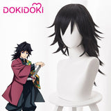 [ Ready For Ship ]DokiDoki Anime Demon Slayer: Kimetsu no Yaiba Copslay Wig Tomioka Giyuu Hair Men Black Long Heat Resistant Hair