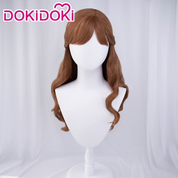 DokiDoki  Movie Frozen 2 Anna Cosplay Wig Women Brown Long Curvy