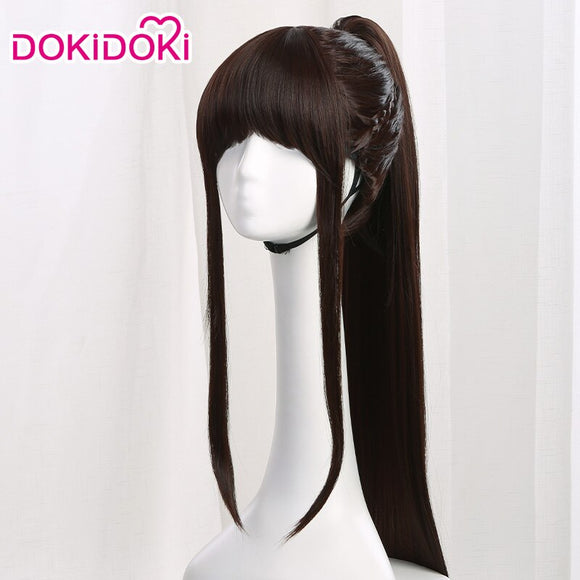 Dokidoki Movie Hua Mulan Cosplay Wig Princess Long Black Hair Ponytail