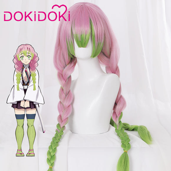 DokiDoki Anime Demon Slayer: Kimetsu no Yaiba Cosplay Wig Kanroji Mitsuri Hair Women Long Pink&Green Hair