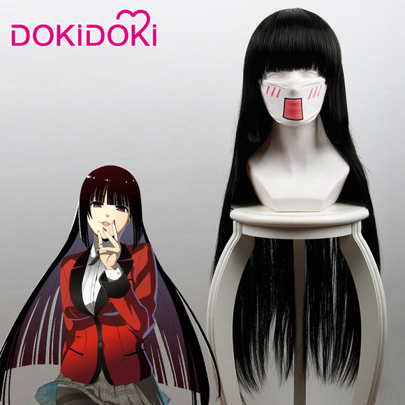 DokiDoki Anime Cosplay Wig Kakegurui Yumeko Jabami Wig Women Long Straight Black Hair Kakegurui Cosplay Hair