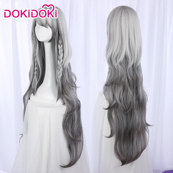 DokiDoki Game Arknights Pramanix Cosplay Wig Women Long Grey Hair Heat Resistant