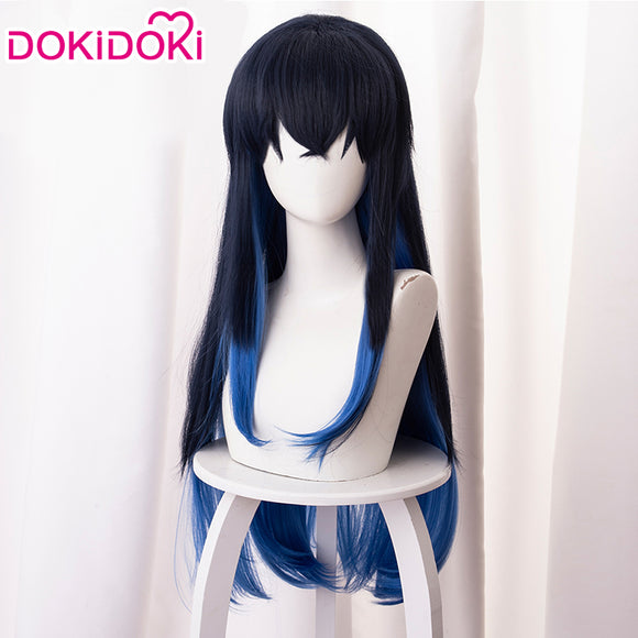 Dokidoki Anime Demon Slayer Kimetsu no Yaiba Cosplay Wig Hashibira Inosuke Long Hair Blue