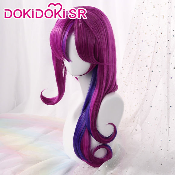 【Ready For Ship】DokiDoki Game League of Legends Cosplay Wig Xayah Star Guardian Women Purplr Curvy Hair