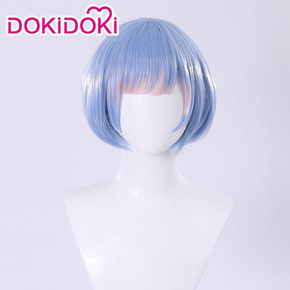 DokiDoki Anime Re Zero Cosplay Rem Cosplay Wigs Women Blue Heat Resistant