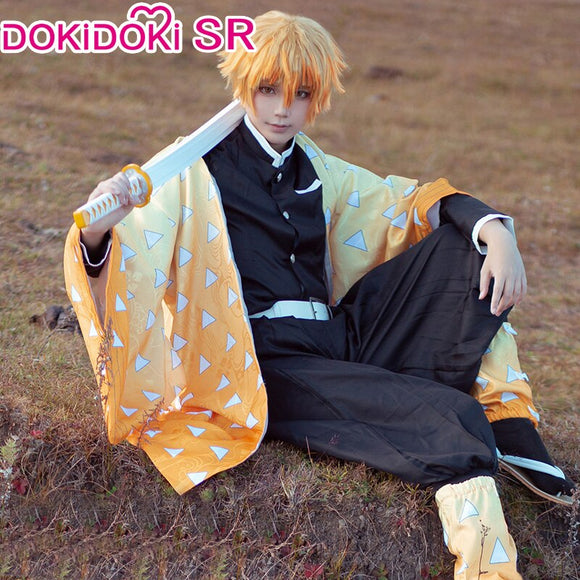 DokiDoki-SR  Anime Demon Slayer: Kimetsu no Yaiba Cosplay Agatsuma Zenitsu Costume Men Cosplay