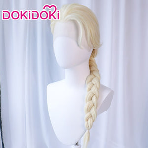 【Ready For Ship】DokiDoki Fronzen 2 Elsa Cosplay Wig Front Lace  Women Blonde High Temperature Fiber