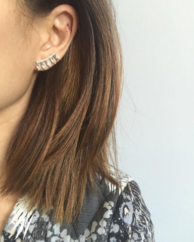 Feathered Ear Crawlers, White, Earrings, Chic & Shine, Chic & Shine  - 2