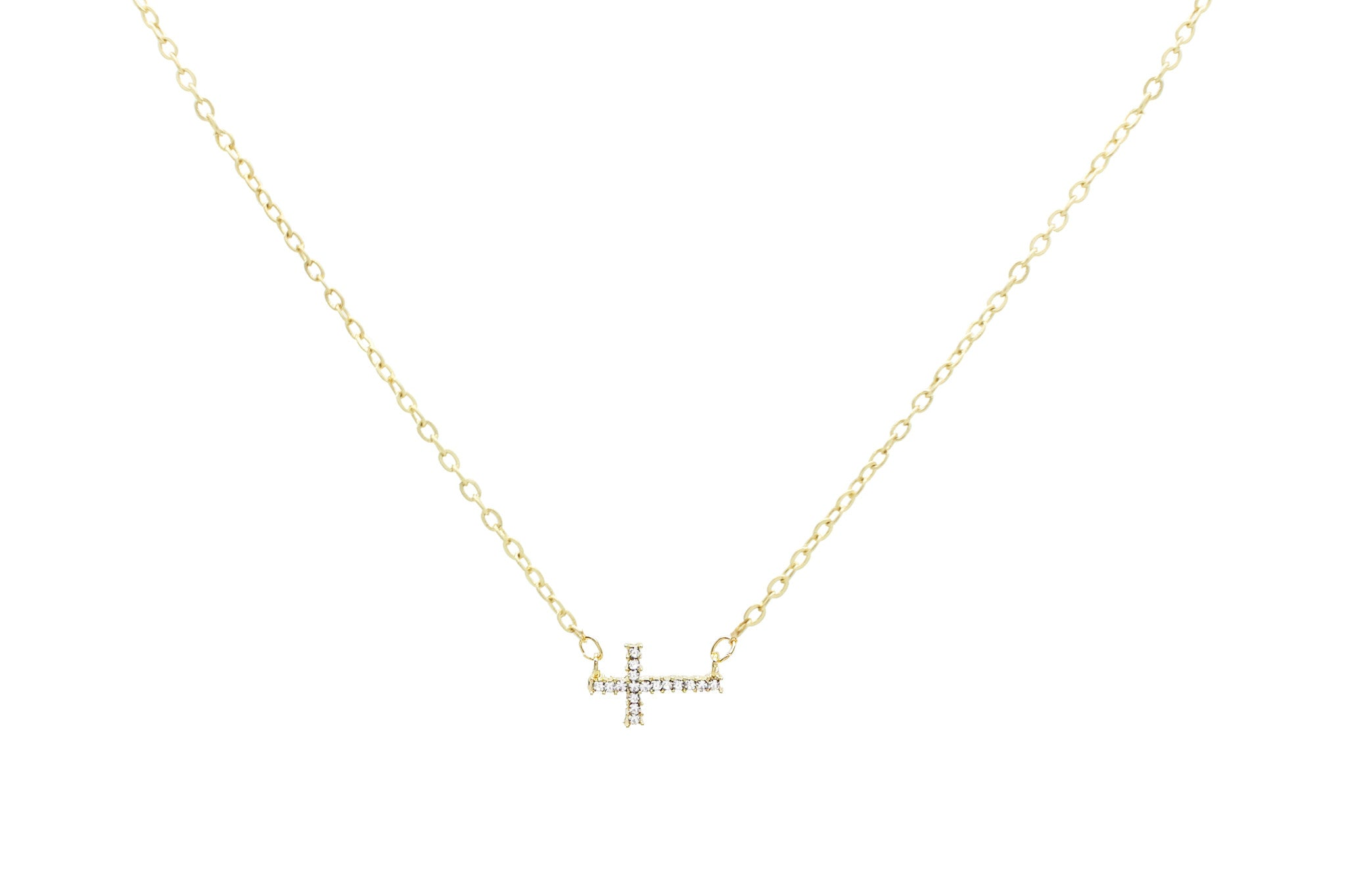 Lil Crystal Cross Necklace, Gold, Necklaces, Chic & Shine, Chic & Shine  - 1