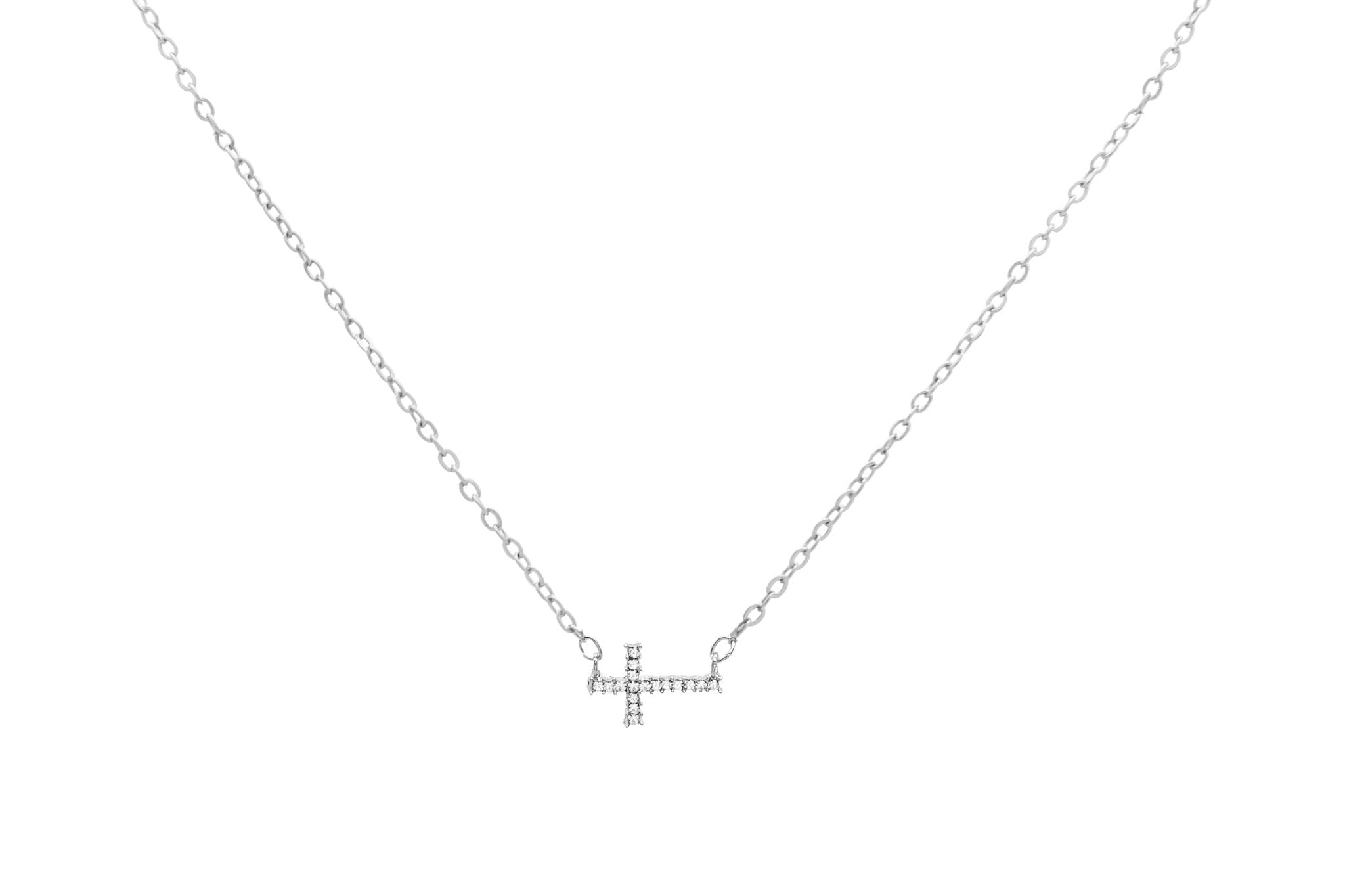 Lil Crystal Cross Necklace, Silver, Necklaces, Chic & Shine, Chic & Shine  - 4