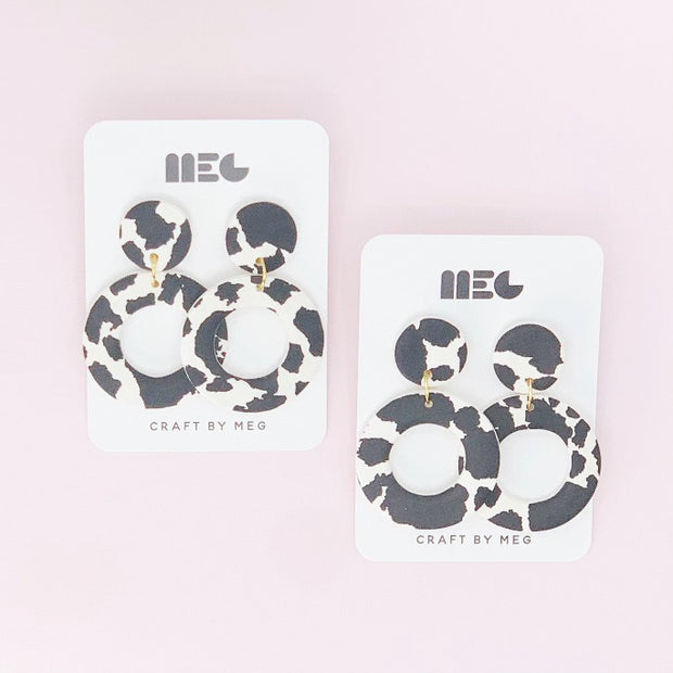 CRAFT BY MEG CLAY COW PRINT LIZ HOOP EARRINGS BLACK & WHITE