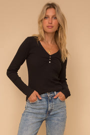 Black Ribbed Knit Top