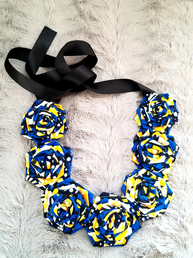 "Flower ""Ankara Print"" Necklace Choker"