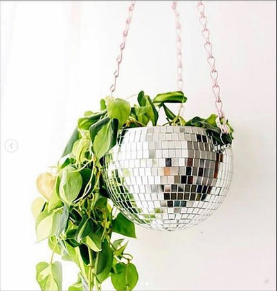 "8"" hanging disco ball planter"