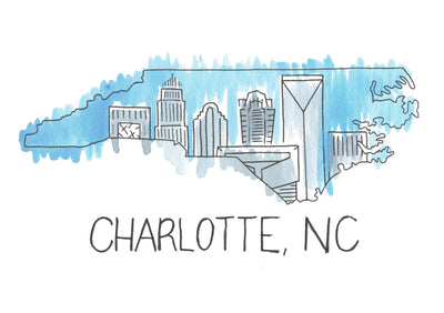 Charlotte Skyline in North Carolina Watercolor