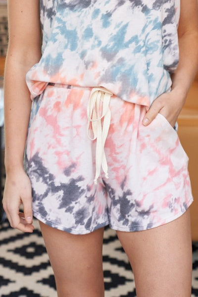 Calm + Collected Tie Dye Knit Shorts