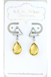 Yellow Citrine Triangle Post Earrings