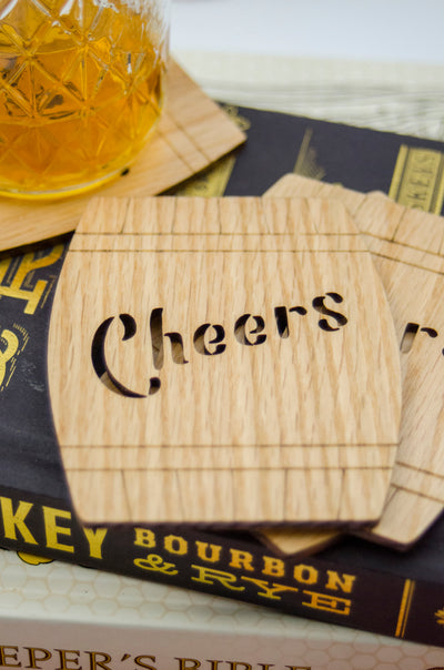 """Cheers"" Bourbon Barrel Coaster Set"