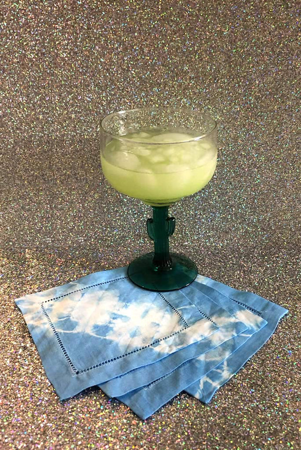 Shibori Tie-Dye Linen Cocktail Napkins Linear Pattern 1 (Set of 6)