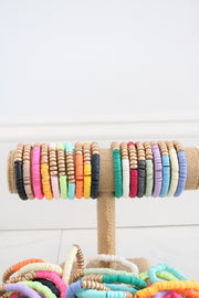 Gold Wood + Polymer Clay Stretch Bracelet