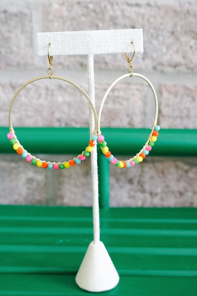 Beaded Gold Hoop Earrings – Multi