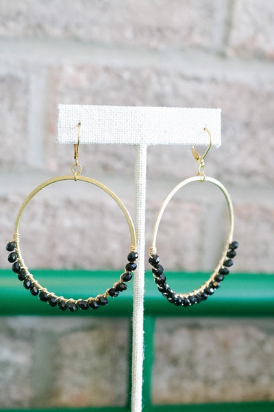 Beaded Hoop Earrings – Black