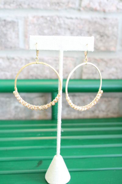 Beaded Hoop Earrings – Champagne