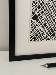 Charlotte Hand Cut Paper Map with Floating Frame
