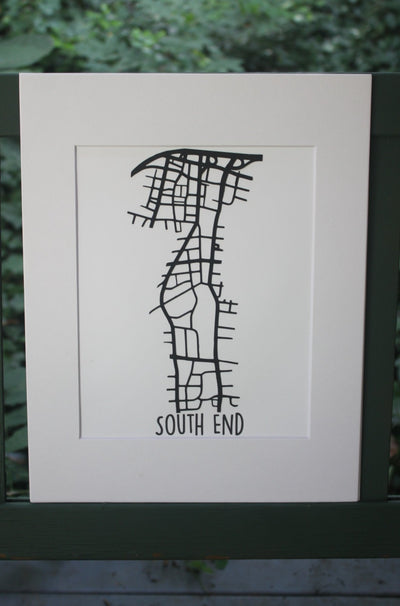 South End Cut Map - Black on White