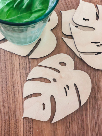 Hardwood Monstera Leaf Coaster Set