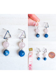 Rose Quartz + Sodalite Gemstone Triangle Post Earrings