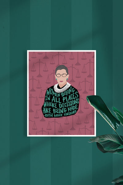 Feminist Art Prints - Ruth Bader Ginsburg, Michelle Obama, Maya Angelou, Gloria Steinem and Kamala Harris