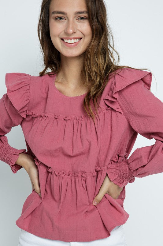 Sweet As a Berry Ruffle Top