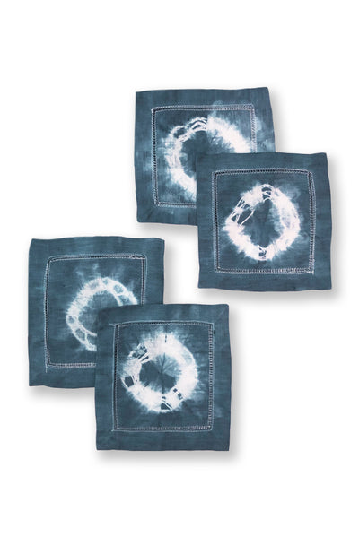 Shibori Tie-Dye Linen Cocktail Napkins Circle Pattern 2 (Set of 4)