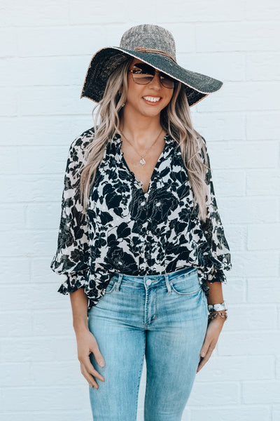 Venice Floral Button Down Blouse