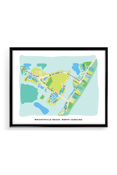 Wrightsville Beach Map Art Print