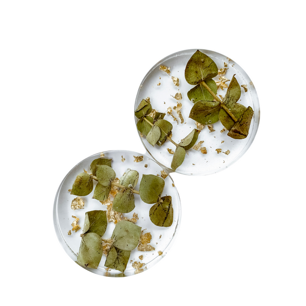 Eucalyptus Gold Flakes Coaster Set
