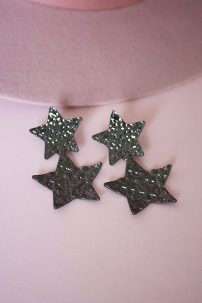 Gunmetal Star Print Earring