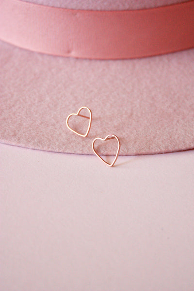Rose Gold Heart Stud Earring