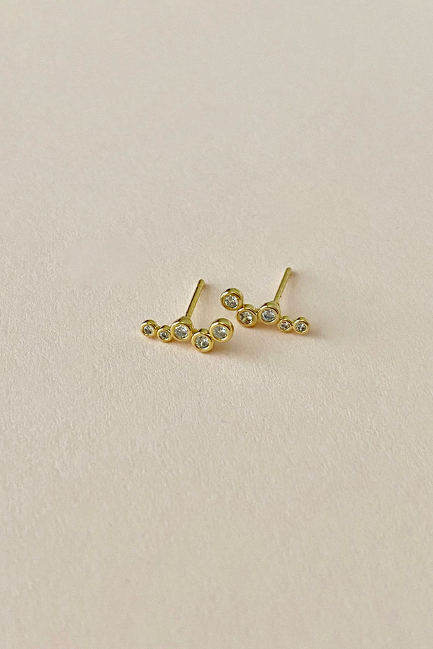 Gold Bubble Crystal Stud Earring